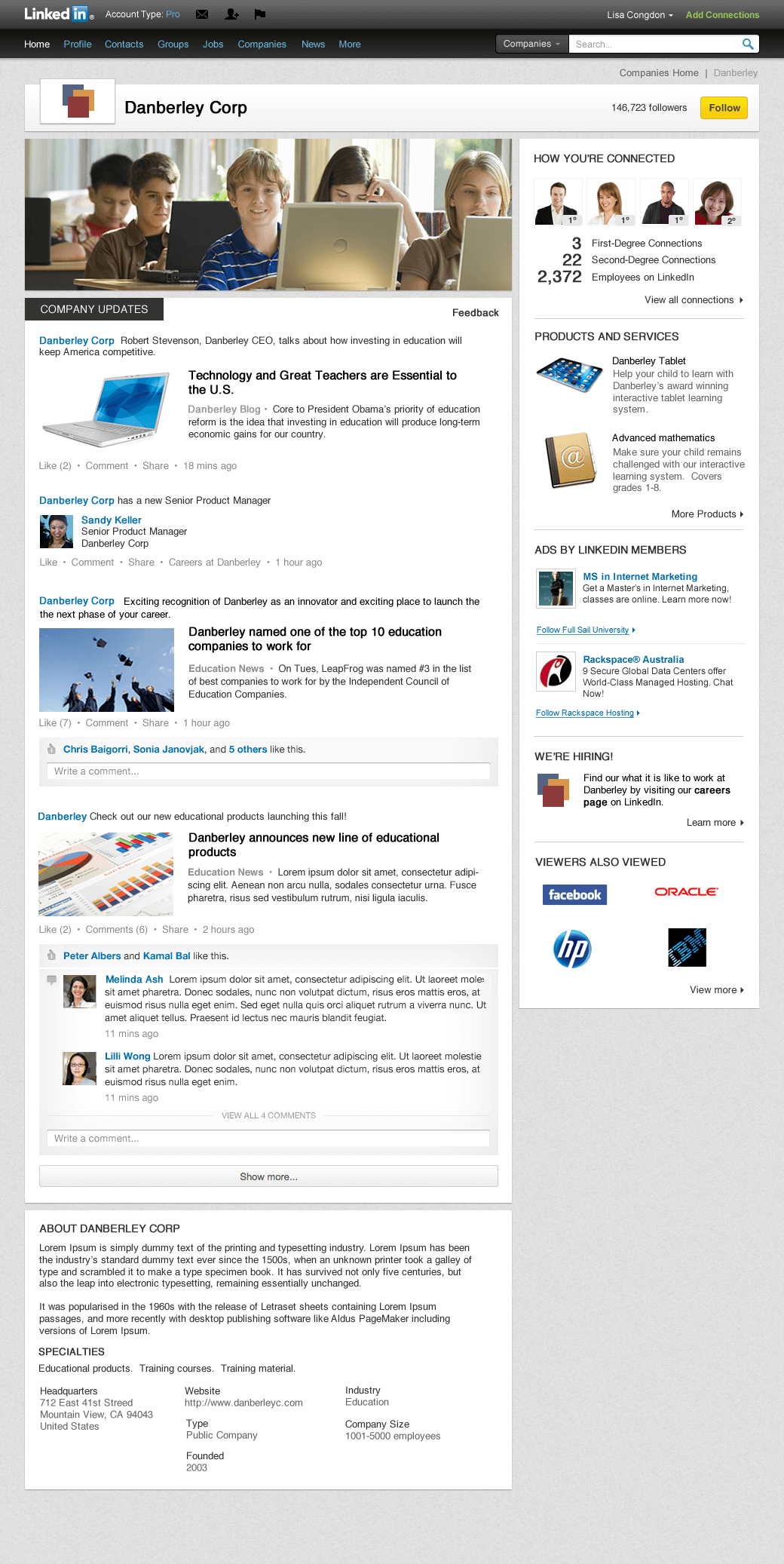 Example of the new design for LinkedIn Company Page